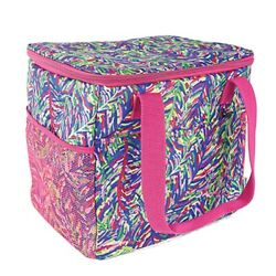 Frond Design Blue and Pink 12 x 10 Fabric and Mesh Cooler Tote With Handles $42.95