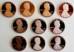 2010 S Thru 2019 S Proof Lincoln Shield One Cent 10 Coin Penny Lot 1c Collection