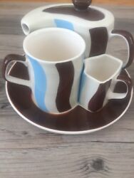 Huesnbrews Latte Coffee Cup, Teapot And Creamer Set Brown Blue White Stripes.
