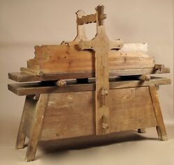 A Very Rare Wooden Mangling Table For Mangling Ironing Linen19th Century