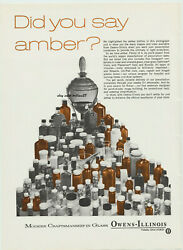 1968 Owens Illinois Amber Glass Vintage Ad 1960s Medical Bottles Collectible