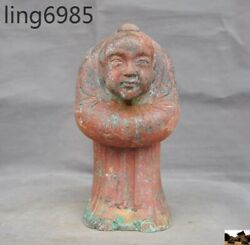 Old Chinese Bronze Ware Dynasty Palace Male Maid Man Servant Ancient Text Statue