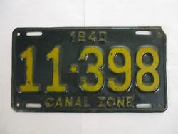 1940 Panama Canal Zone License Plate Tag