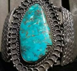 Antique Navajo Bracelet Sterling Silver Turquoise Old Pawn Native American 1920