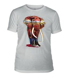 The Mountain Adult Painted Elephant Tribl Grey Animal Tshirt