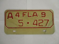 1949 Florida MOTORCYCLE  License Plate Tag REGISTERABLE
