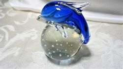 Vintage Murano Art Glass Cobalt Blue Dolphins Clear Base With Controlled Bubble