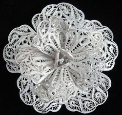 Antique Vintage Mexican Cannetille Filigree Coiled Sterling Silver Wire Brooch