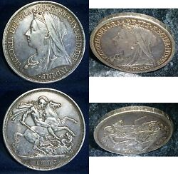 Great Britain Crown 1893 Silver Uk Coin Km783