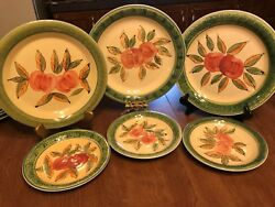 6 Pcs Gibson Designs Id 418 Dinner Plate Discontinued Pattern Fruit In Center