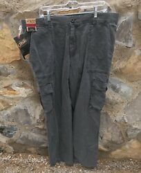 Nwt Roundtree And Yorke Washed Utility Cargo Pants Gray Straight Fit Mens 40x32