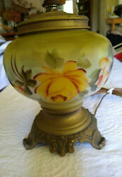 Vintage Floral Porcelain Glass Brass Footed Table Lamp No Shade