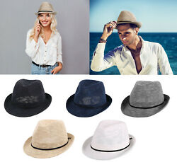 Summer Beach Straw Fedora Hat Women Men Foldable Short Brim Sun Trilby Cap $14.97
