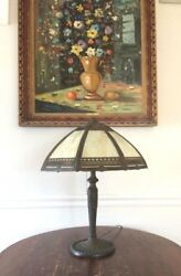 Antique Stained Glass Table Lamp 8 Panel