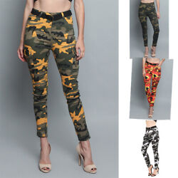 Nwt Womenand039s Cargo Color Military Army Camo Skinny Pants  Rjh2075 - R5g