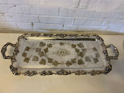 Vtg Possibly Antique Eg Webster And Son Silver Plated Grape Vine Hand Chased Tray