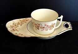 Cup Lunch And Tray Porcelain Limoges Flowers And Butterfly Painted Hand 1900