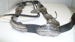 Vintage Fish Rick Martinez Navajo Bolo And 10 Concho Leather Belt Sterling Silver