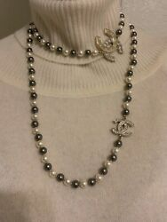 New Pharrell Pearl Crystal Cc Necklace Gold Tone Capsule Collection Rare