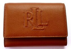 NWT Polo Ralph Lauren Women's Small Leather Wallet& Card Case 2 in 1(Tank)