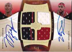 2006-07 Exquisite MICHAEL JORDAN LEBRON JAMES Dual Auto Jersey Card #d 5 RARE