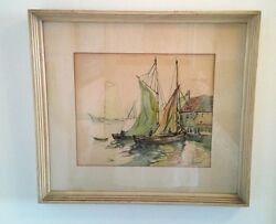 Edith Berger Watercolor Painting France Sail Boat Dock 1940 Listed Woman Artist