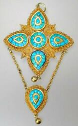 Amazing Antique Victorian Indian Mughal 22k Gold Turquoise Drop Pendant Necklace