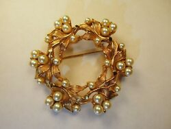 Charel Signed Brooch With Pearls Nestled in Golden Leaves