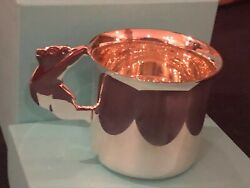 And Co Makers Sterling Silver Teddy Bear Cup -new In Box-andnbsp