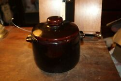 Vintage West Bend Glazed Ceramic Crock Bean Pot With Lid Usa Brown 5 Tall X 7