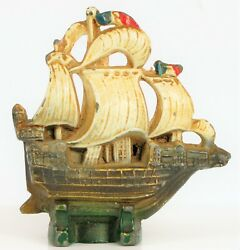 Antique Cast Iron Whaling Ship Nautical Souvenir New Bedford Heavy Paperweight