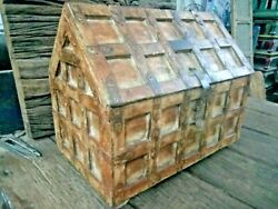 Old Vintage Rare Hand Made Wooden Tribal Hut Shape Jewellery Money Chest Box