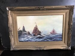 Paintings On Board Nautical Scenes From 18th Century.