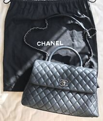 100% Auth Chanel Coco Handle Black Cavier Calf Leather Silver Hardware Medium