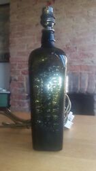 Antique Gin Bottle Table Lamp P. Loopuyt And Co Schiedam Holland