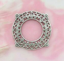 Antique Silver 2 Pieces Round Delicate Filigree Stamping Findings E-092