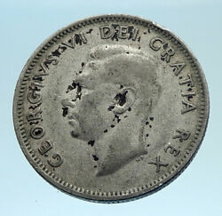 1952 Canada King George Vi Of Britain Domains Silver 25 Cent Coin Caribou I77531