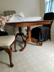 Queen Anne Dining Room Set Table, Extension Pieces, 6 Chairs