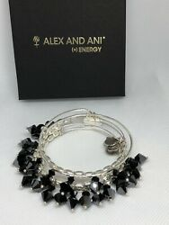 Alex And Ani Crystal Set Of 5 Hanging Crystals Black With Silver Tone