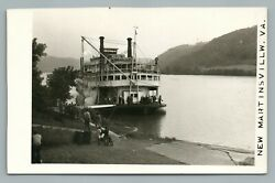 Paddleboat Steamer Ship New Martinsville West Virginia Rppc Ohio River Photo 50s