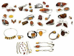 Vintage Sterling Silver Jewelry Amber Brooches Necklaces Bracelets Wholesale Lot