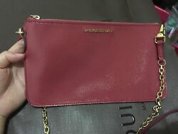 Auth Burberry Crossbody Bag Blush Pink Clutch with Chain $395.00