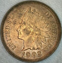 1902 Unc Indian Head United States Penny 1c Us Coin One Cent Uncirculated