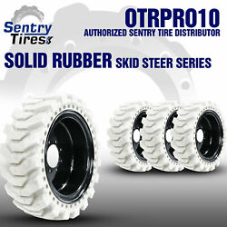 12x16.5 Non-marking Solid Skid Steer Tires 4 Tires W/ Wheels 33x12-20 For Bobcat