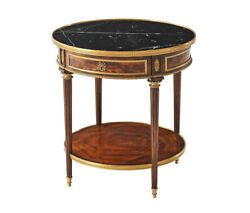 Fantastic French Louis Xvi Flame Mahogany And Bronze Marble Top Side Lamp Table
