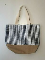 Beach Bag Straw and Canvas Blue White Pattern Brown Canvas Botton Brand New $16.00