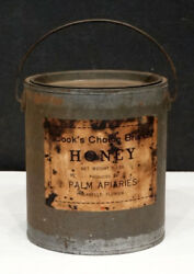 1920's Antique Cook's Palm Apiary Honey Bee Beekeeping Tin Can / Labelle Florida