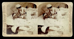 Wounded Soldier And Nurse At Tugela River Philippine Islands Stereoview Photo Card
