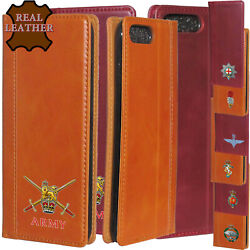 Apple Iphone 7 8 plus X Cow Leather Phone Case wallet British Army Crest Badge