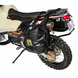 Tusk Racing Pannier Racks with Wolfman Expedition Dry Saddle Bags Black for